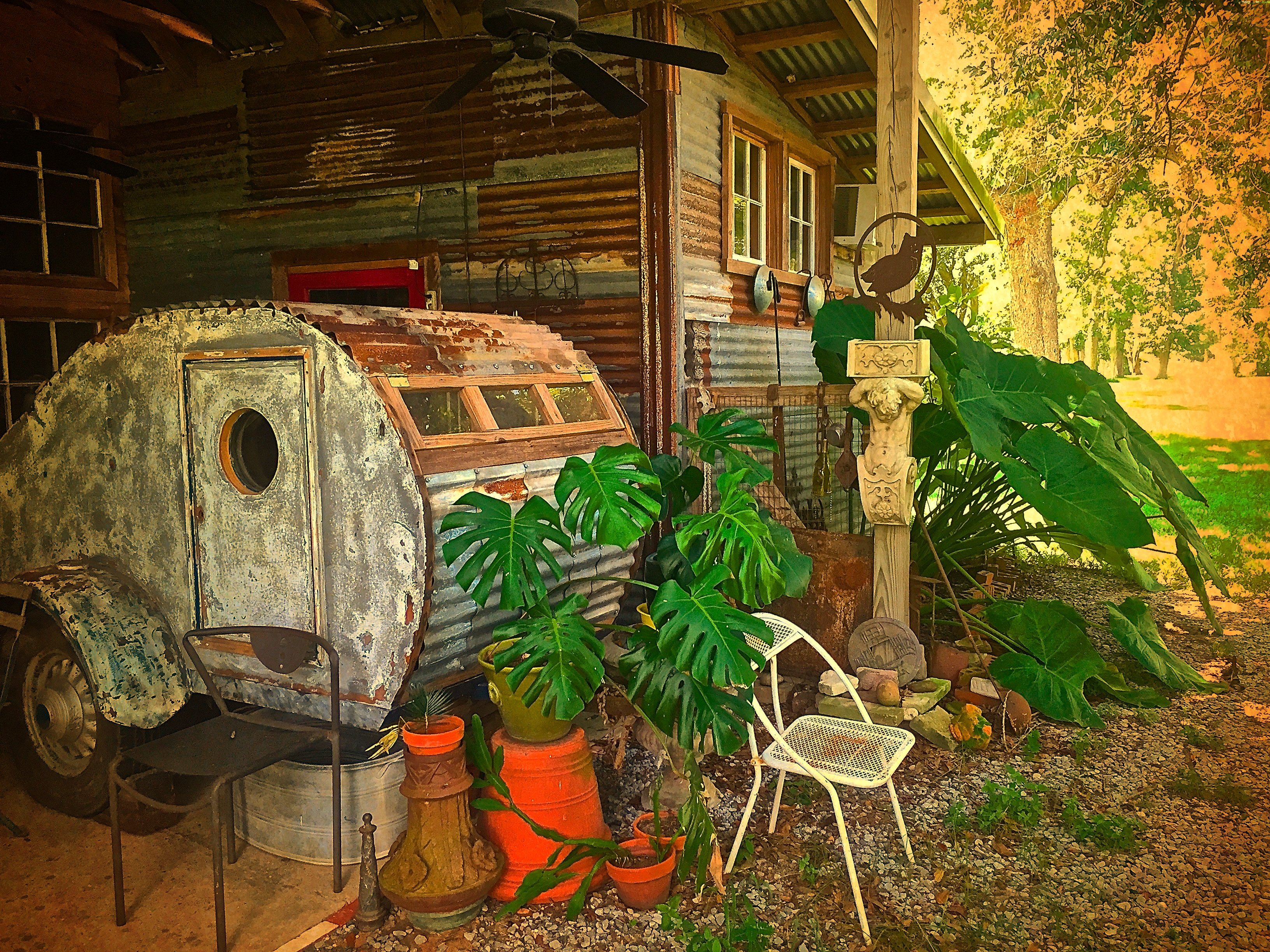 The 30's truck frame Steampunk Teardrop camper is a double bed for the The Folk Art Barn